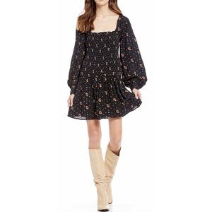 Free People Two Faces Black Floral Mini Dress